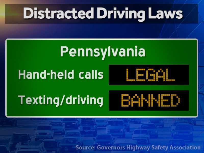 Pennsylvania: Hand-held calls are legal but texting while driving is illegal.