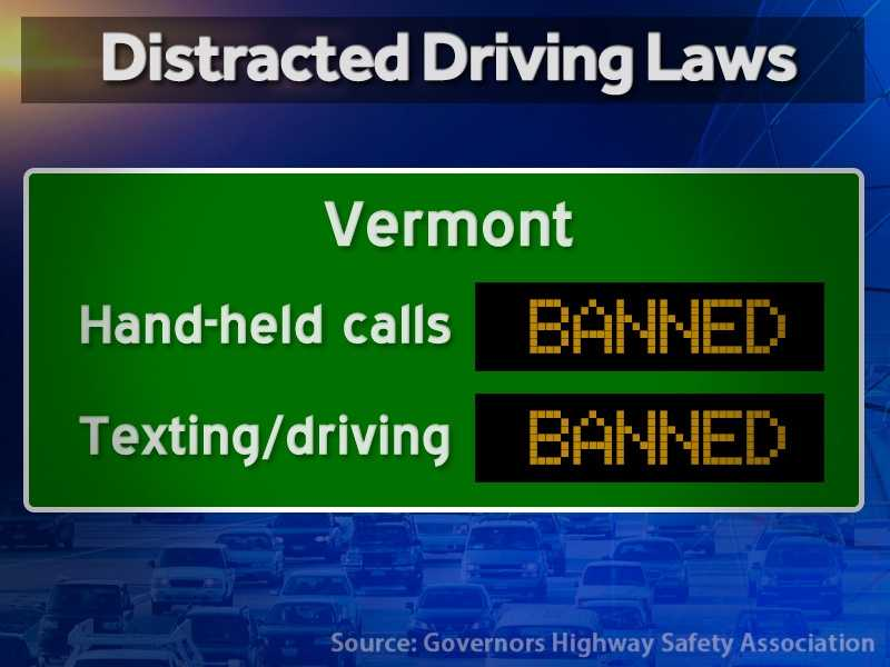 Vermont: Hand-held calls are illegal and texting while driving is illegal.