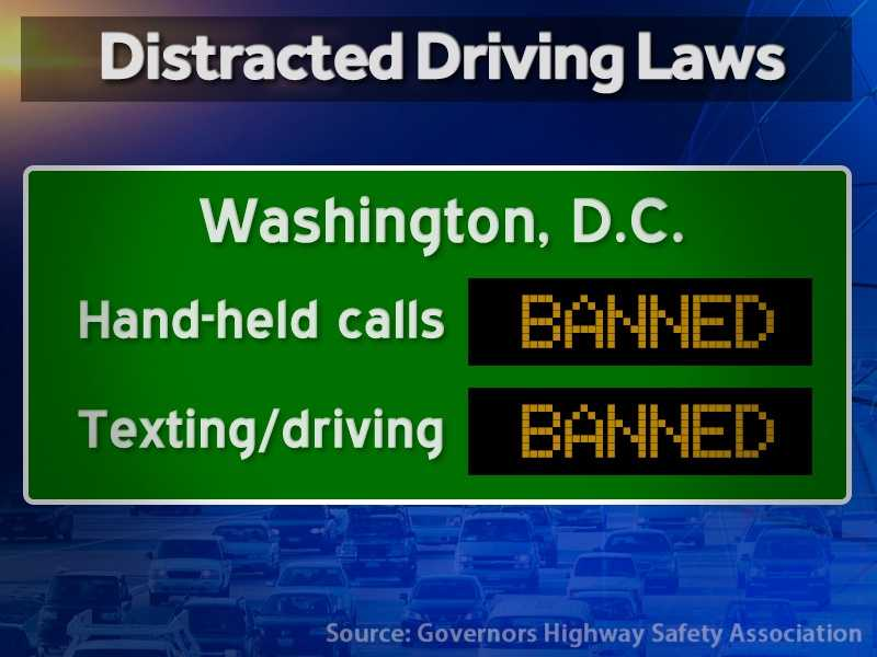 District of Columbia: Hand-held calls are illegal and texting while driving is illegal.