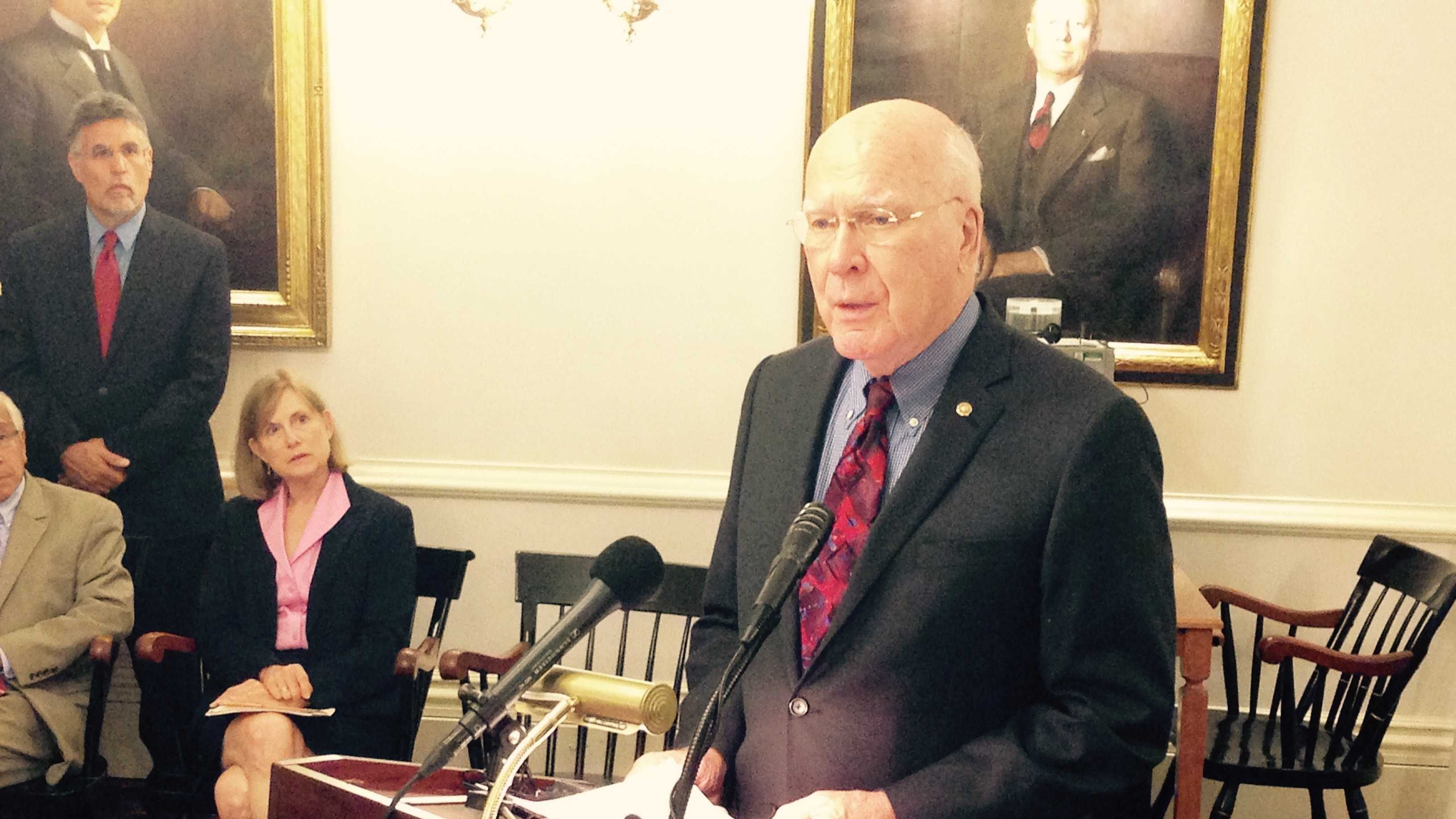 U.S. Sen. Patrick Leahy at the Statehouse Monday.