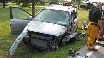 The occupants of this vehicle, Omer Martin, 74, and his wife, Jane Martin, 73, were taken to the hospital with serious injuries.