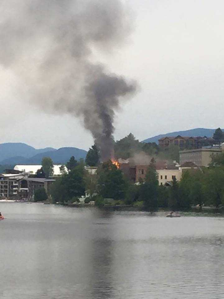 Photo of fire on Main St. In Lake Placid on the eve of the Ironman Triathlon