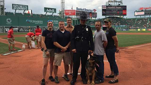 From left to right: Jori Fairbanks of the Bristol Police Department, Wade Lebreaque of the Burlington Police Department, David Roos of the Vermont State Police, Morristown Officer Jason Luneau, Viper, Nicolas Arlington of the Vermont State Police and Jenn Czachor of the Rutland Police Department.