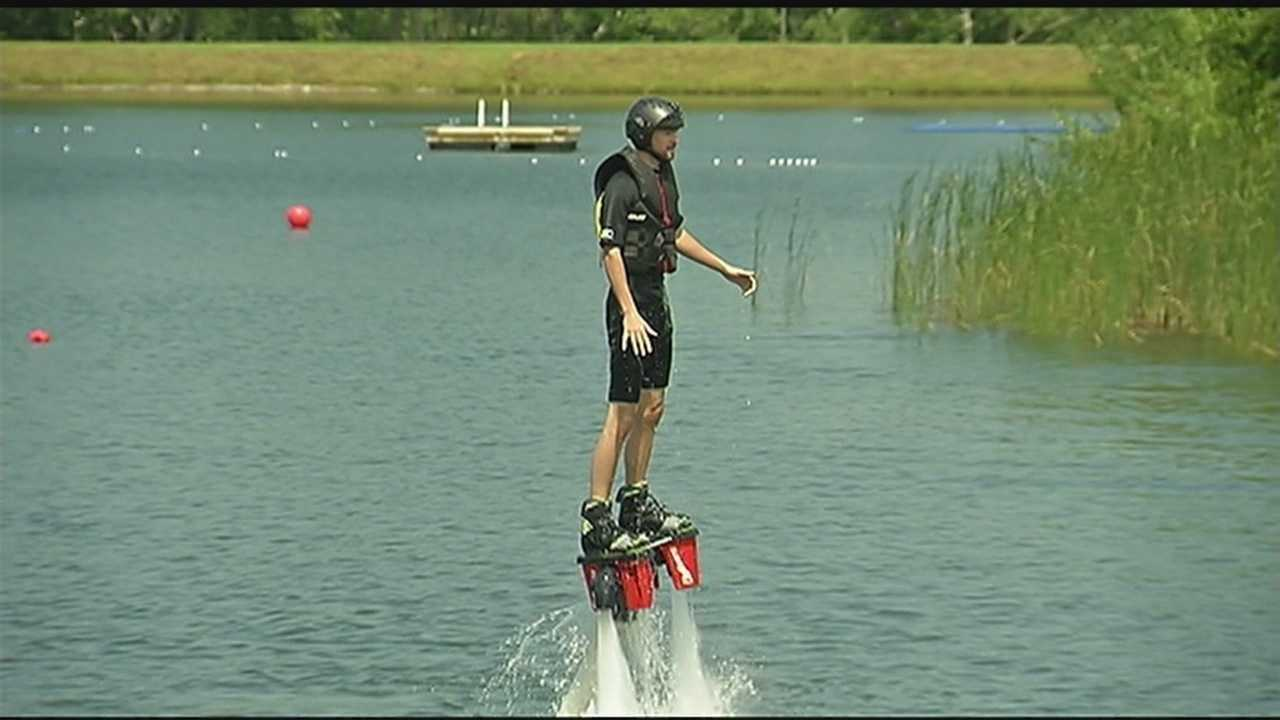 Flyboard of Vermont is a new company that offers lessons that give participants the sensation of flying as a comic book hero would&#x3B; on strong jets of water.