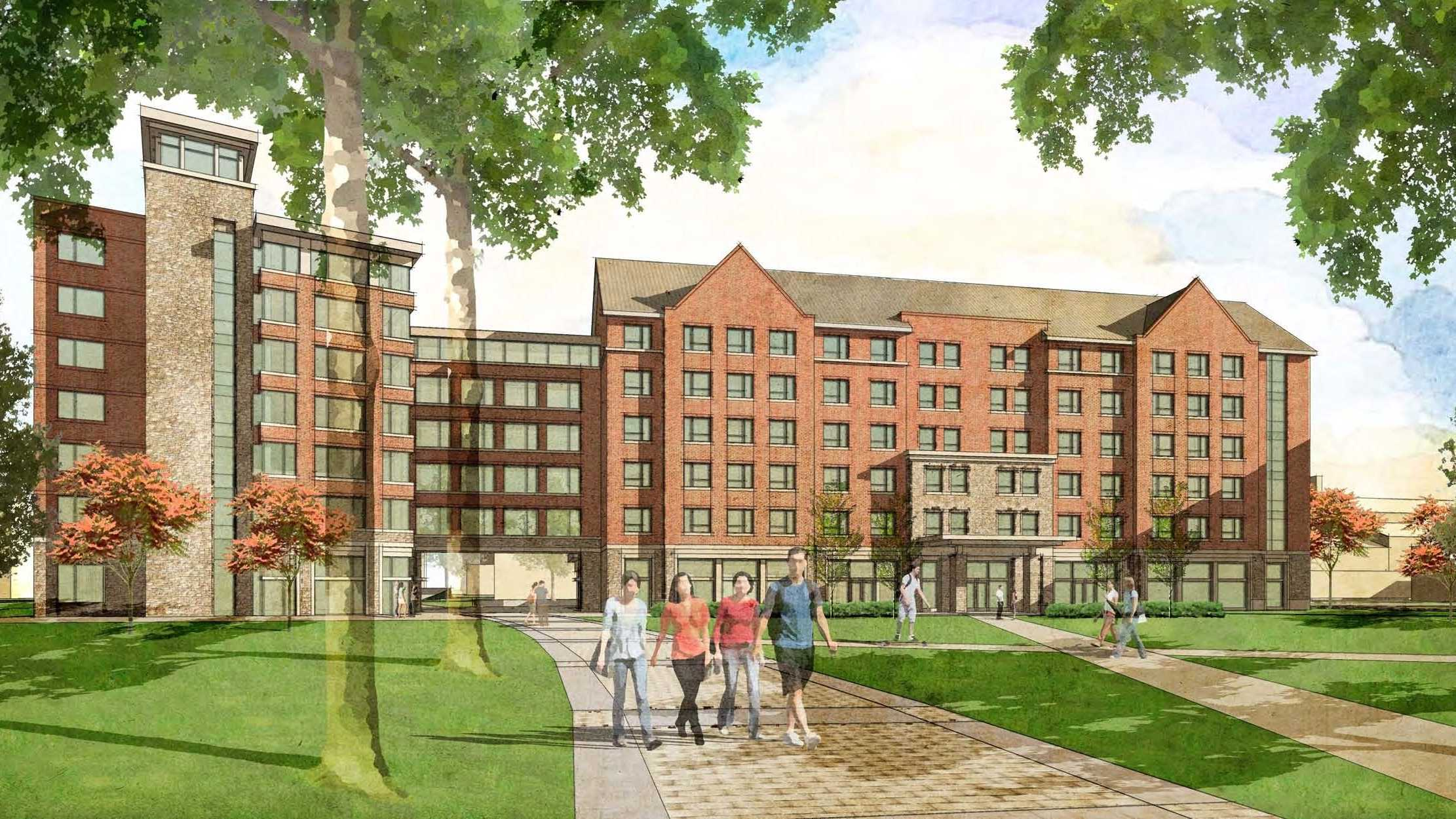 "Architect rendering of a $65 million dormitory and dining hall complex for first-year UVM students, where the ""shoebox"" dorms once stood."