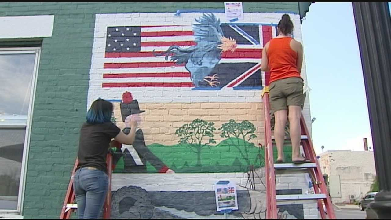 About half a dozen artists spent the week painting what they hope will be the first of many murals in downtown Plattsburgh. The mural depicts the historic Battle of Plattsburgh.