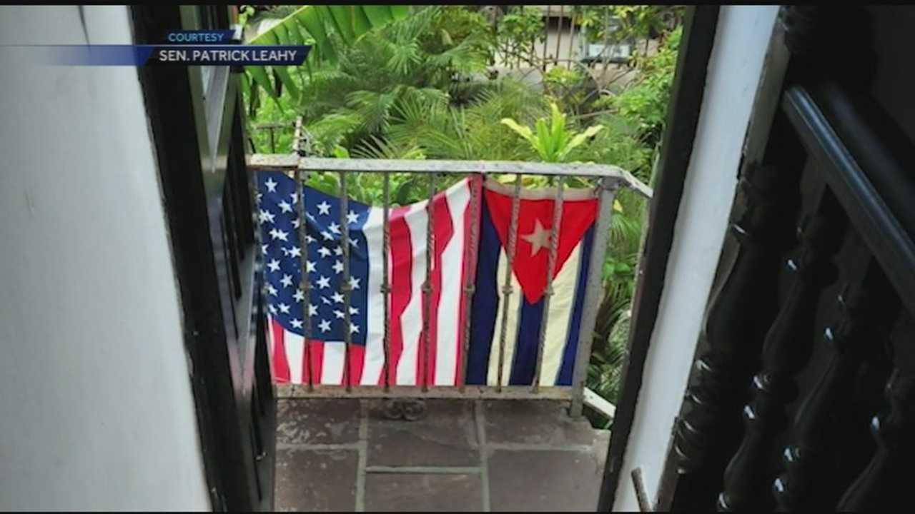 Cuban and U.S. flags hanging together in Havana.