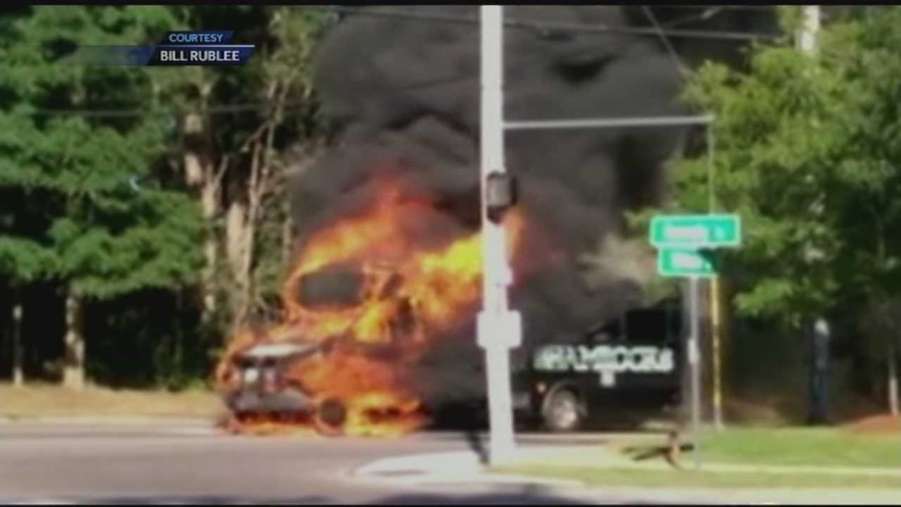 Firefighters corralled a burning bus at a major intersection in South Burlington today.  No one was injured in the blaze.