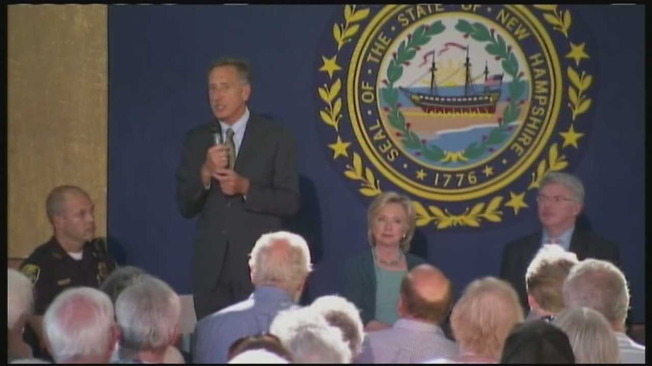 Hillary Clinton was joined by Vermont Gov. Peter Shumlin, a Democrat who endorsed her over Vermont Sen. Bernie Sanders.