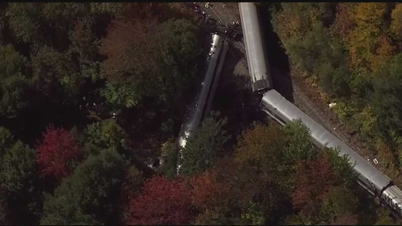 Seven were injured in the derailment Monday