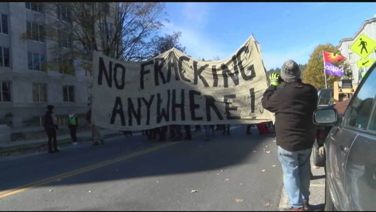 At least 100 people gathered in Montpelier on October 24 to protest Vermont Gas' pipeline and its potential expansion.