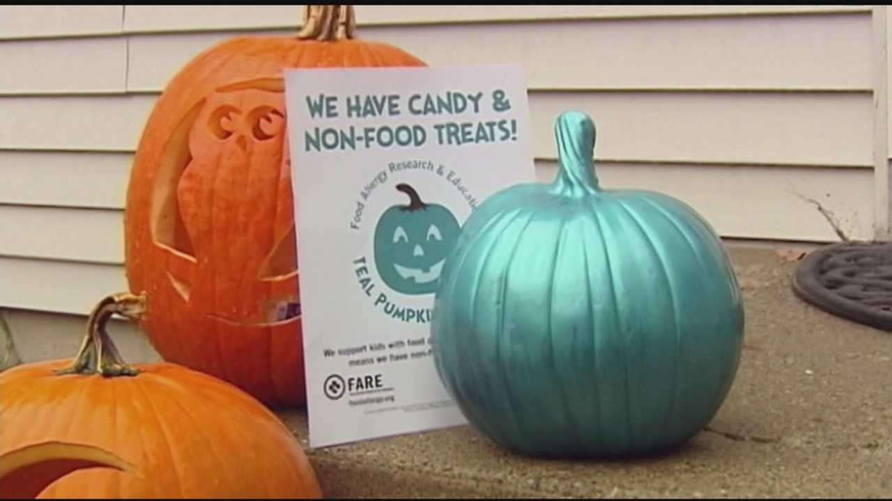 Homes around the area participating in the Teal Pumpkin Project, providing safe alternatives for kids with food allergies.