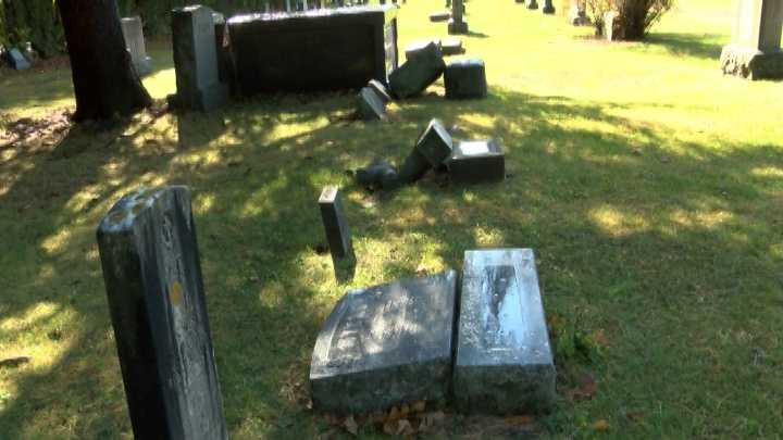 Plattsburgh officials are still trying to solve a mystery. They're trying to find who knocked over dozens of gravestones at the Riverside Cemetery in Plattsburgh in early July.