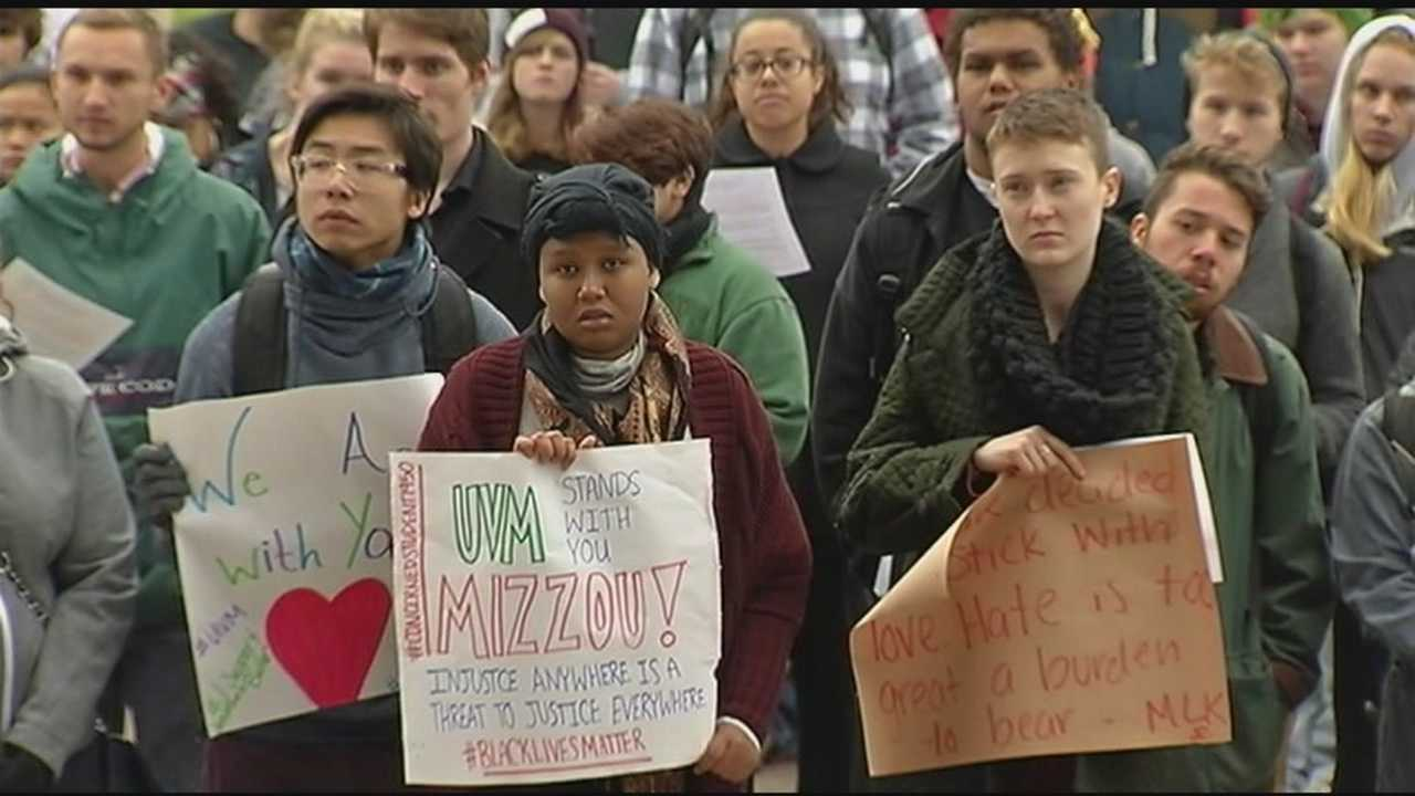 Students at the University of Vermont rally in solidarity with protesting students at the University of Missouri.