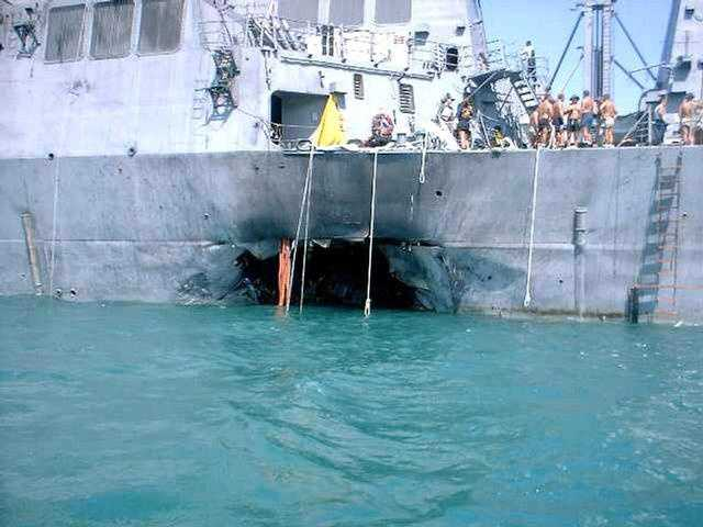 Al-Qaeda-linked terrorists use more than 400 pounds of explosives to bomb the USS Cole off the coast of Yemen killing 17 American sailors and injuring 39 more.