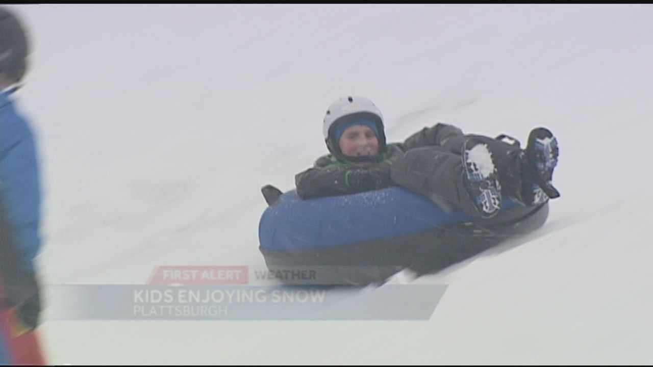 Kids were out sledding on Fox Hill in Plattsburgh during the first significant snowstorm of the season.
