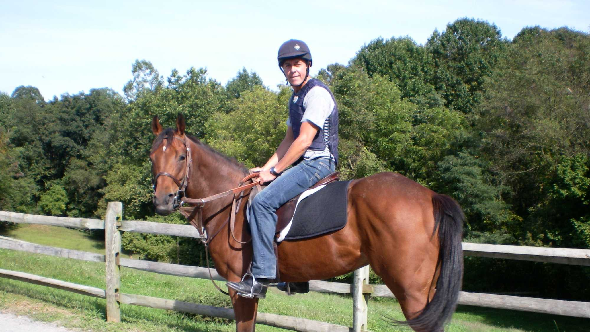Brahma Fear and George Mallet at Breakaway Farm in Kirkwood, Pennsylvania shortly after Brahma's adoption in 2009.