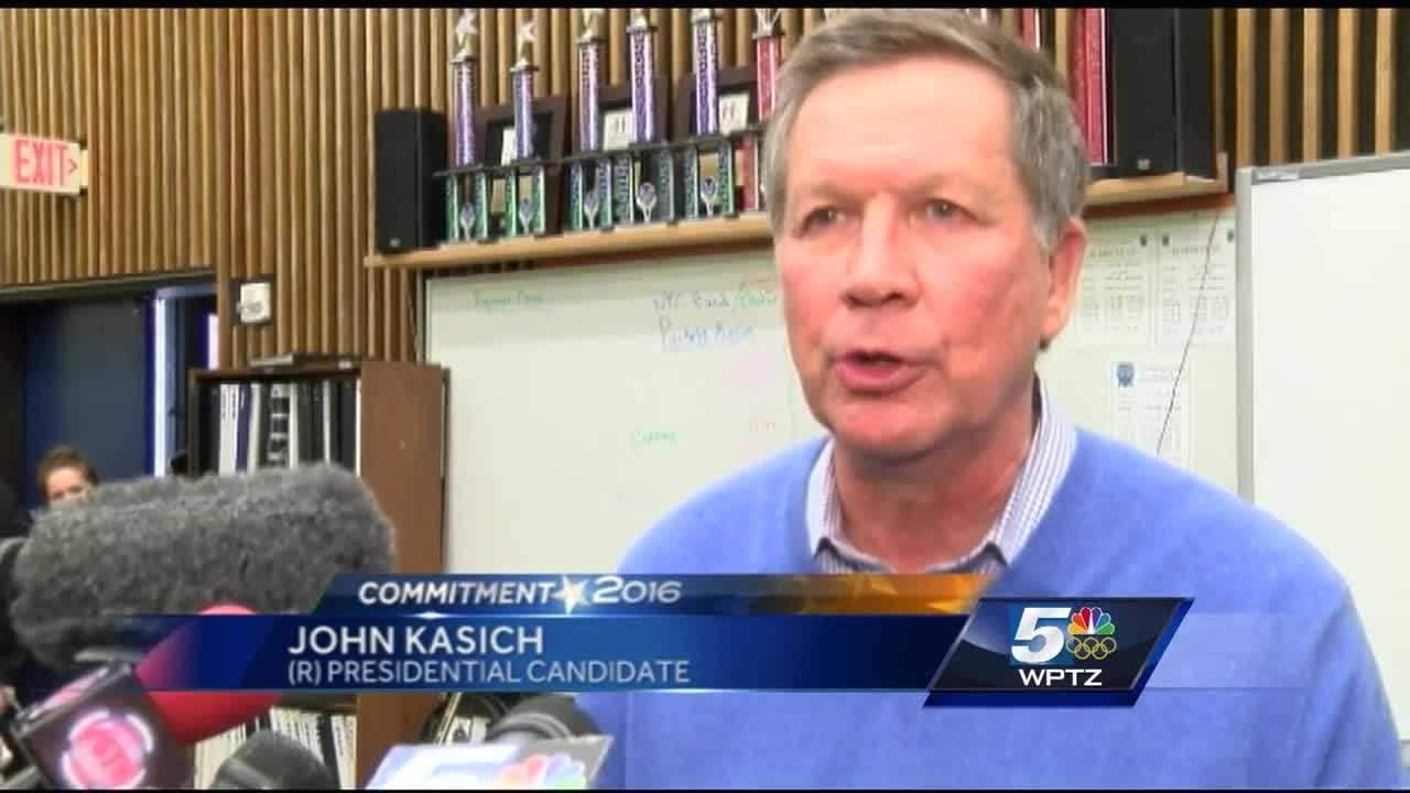 Ohio governor and Republican presidential candidate John Kasich spoke to residents in Colchester about his run for the White House.