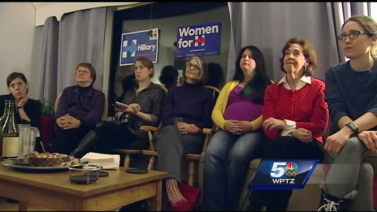 Vermonters gather for an organizing event in support of Hillary Clinton.