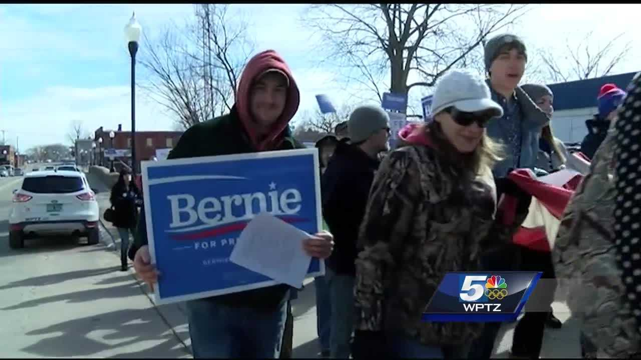 Folks in the North Country rally to support presidential candidate Bernie Sanders.