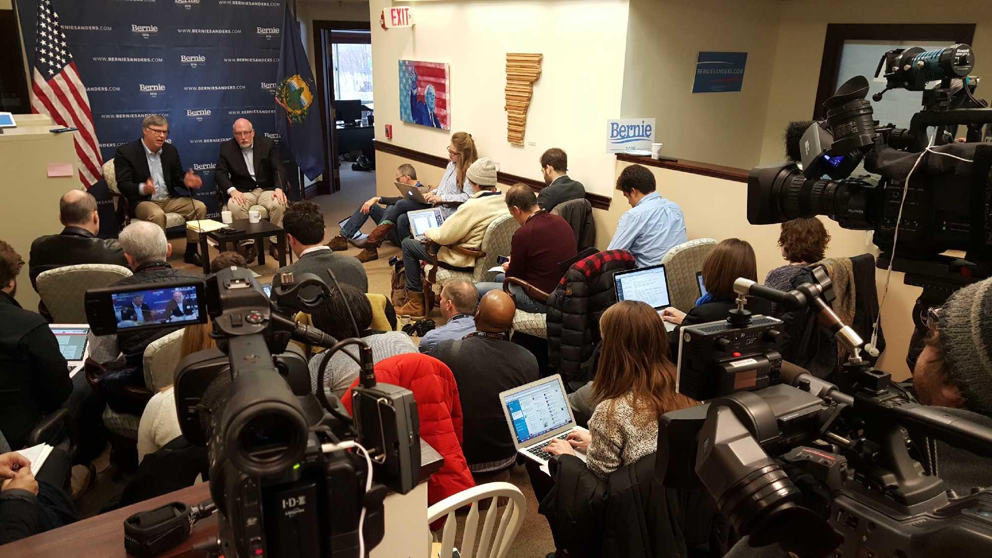 Tad Devine, left, and Jeff Weaver address reporters in Burlington.