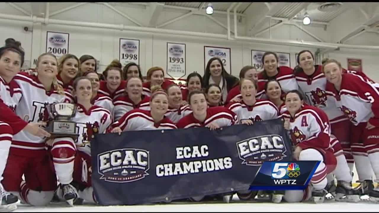 The Plattsburgh St. women's hockey team dominated Utica College, claiming the team's 4th consecutive ECAC West championship.