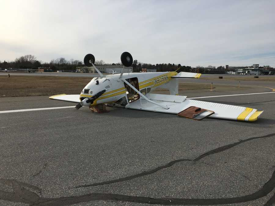 A small plane tipped over while trying to take off from Burlington International Airport Sunday afternoon.