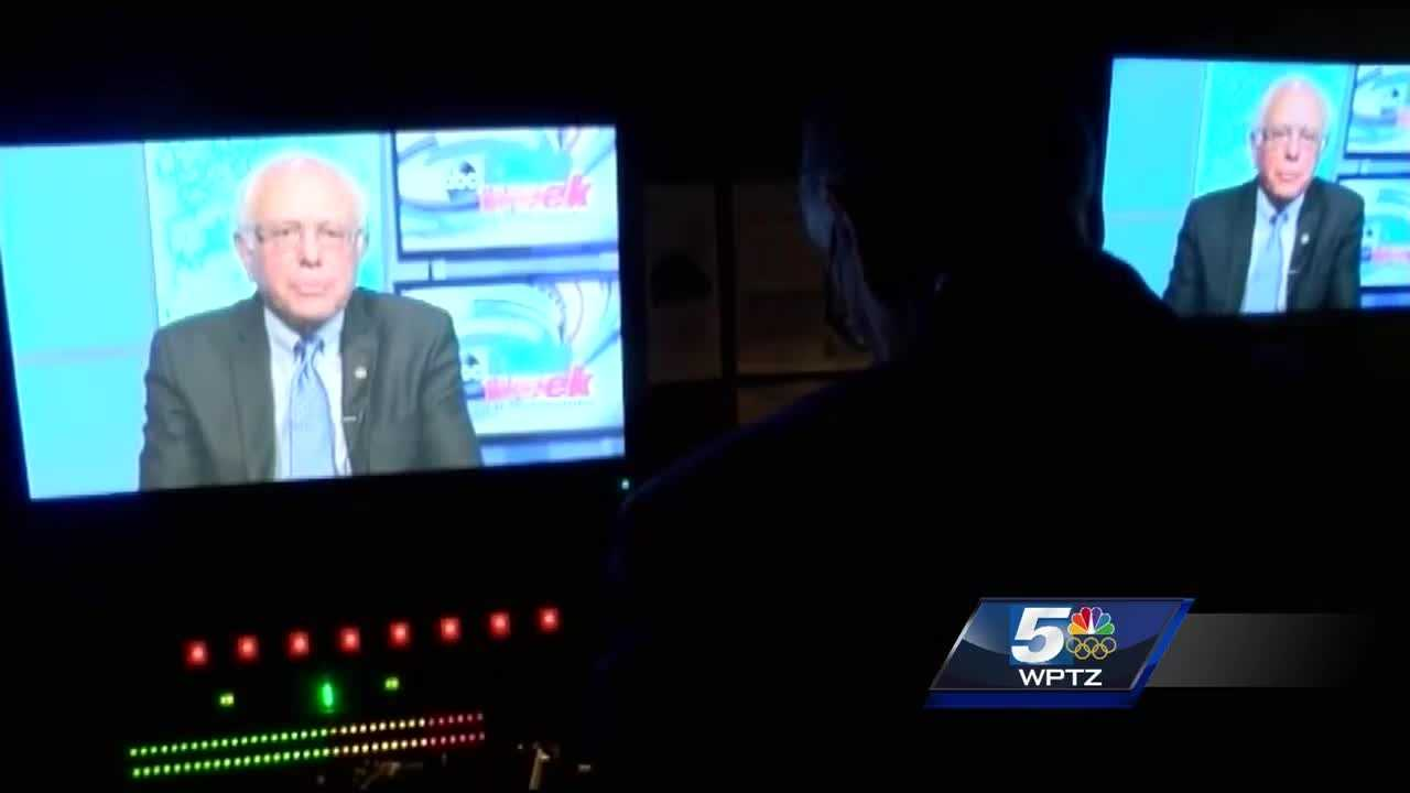 It was a long Easter day that started with early morning television interviews. Take a look behind the camera as Democratic candidate Bernie Sanders juggles network interviews and a local one with WPTZ.