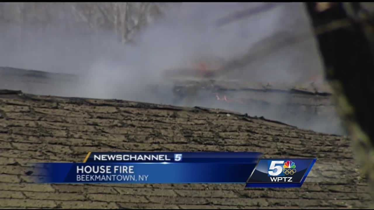 A Beekmantown home was destroyed after it caught fire Tuesday.