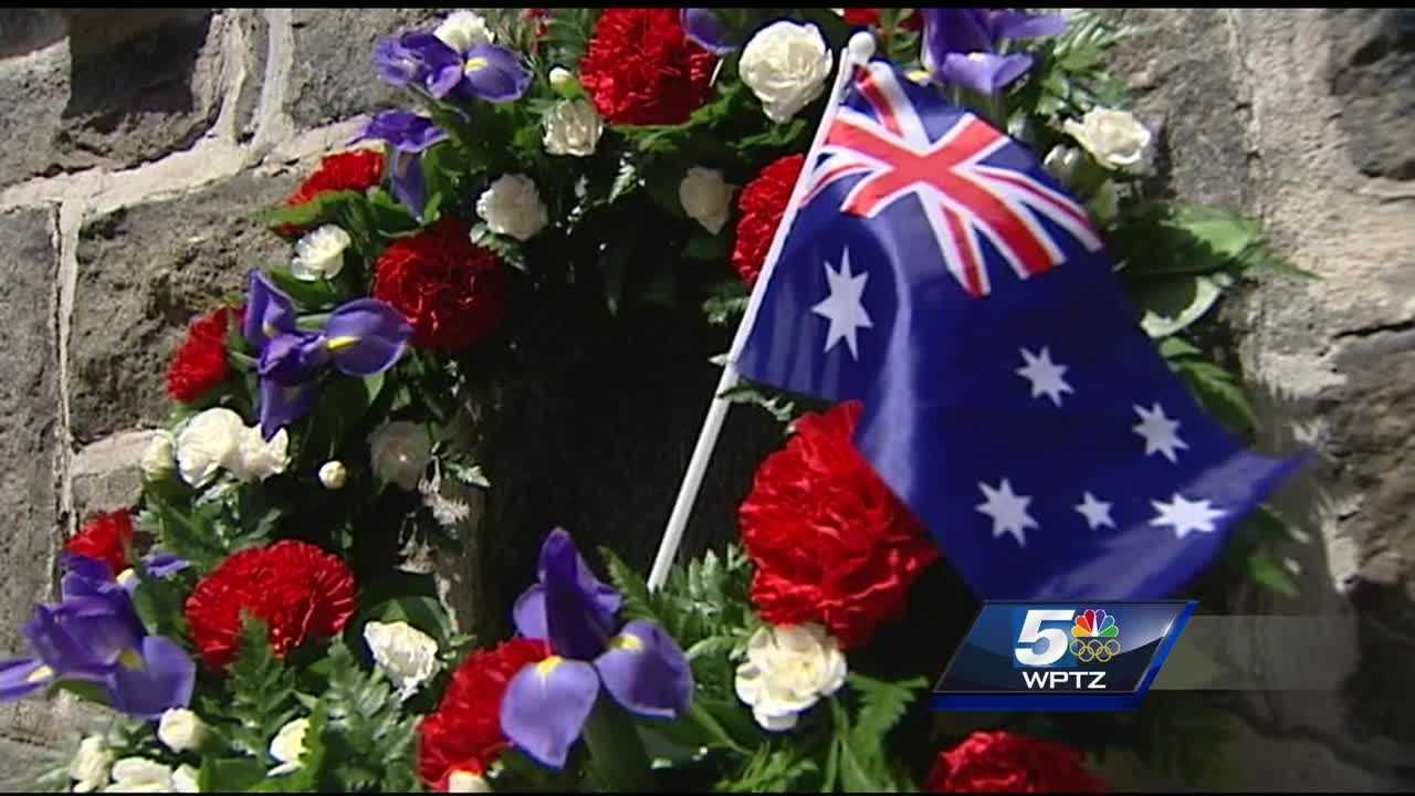 A few dozen people gathered at the WWI Veterans Memorial Park to honor Australians who've served their country in honor of Anzac Day.