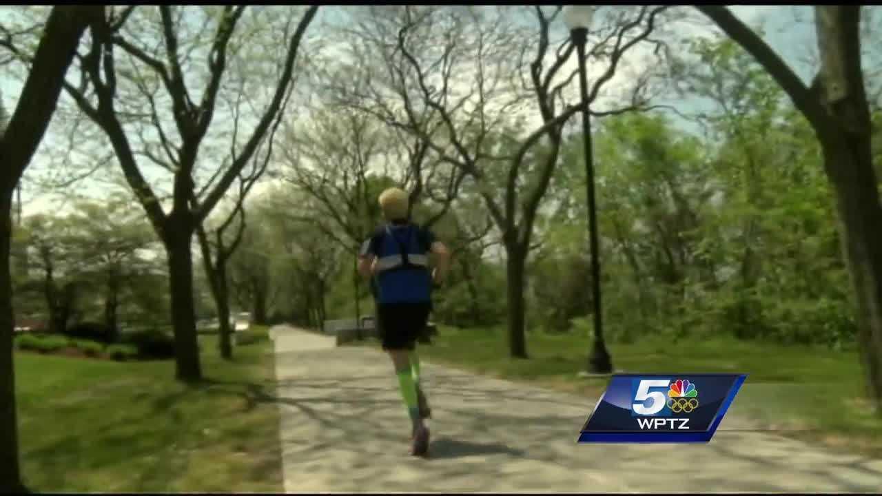 Simon Jeffery is in Burlington to run his first marathon -- honoring his cousin.