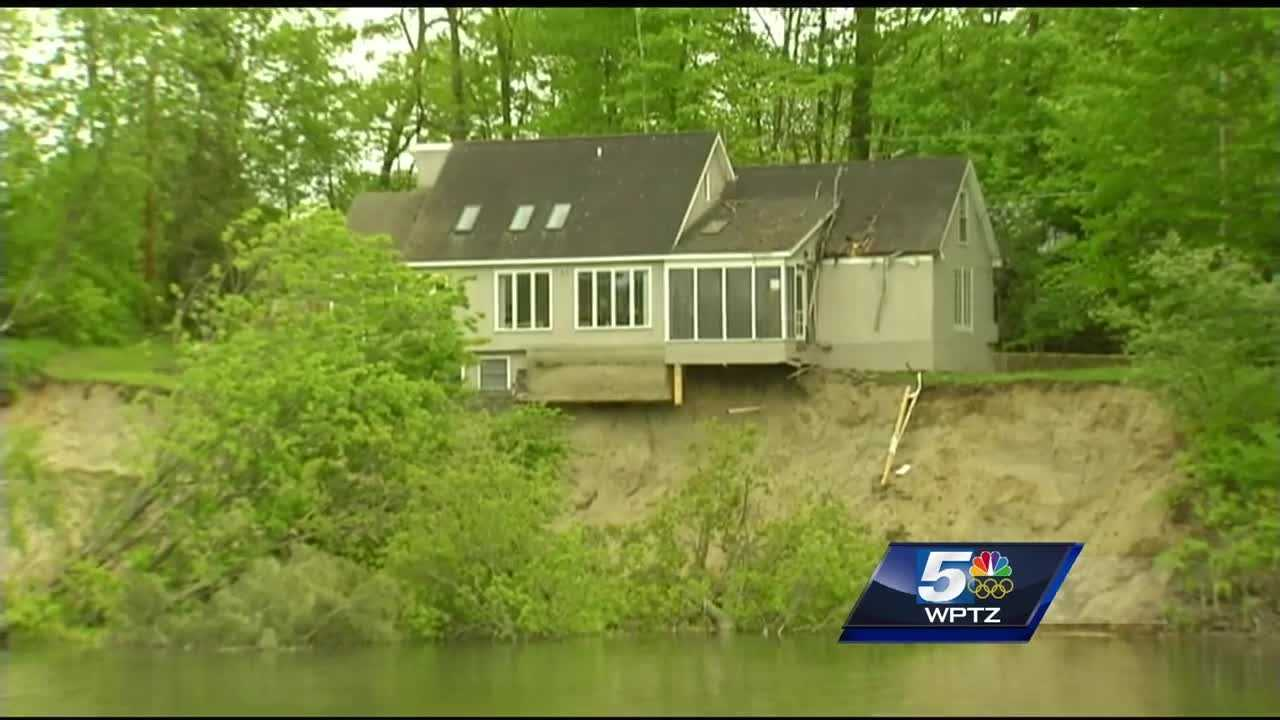 A Burlington woman who had to race from her rented home with her husband and child when landslides left the property close to collapsing into the Winooski River is expressing gratitude for her family's safety.
