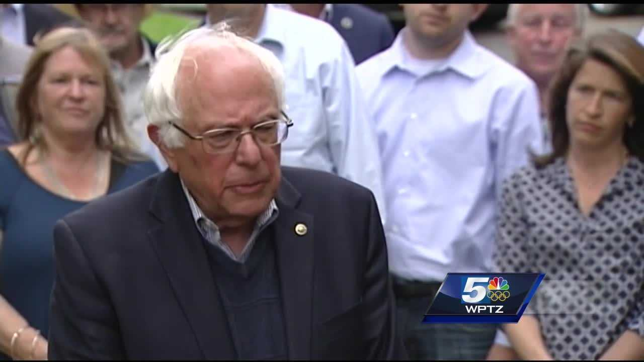 Earlier Sunday afternoon, dozens of fellow politicians, colleagues and confidantes met at Burlington Sanders' Burlington home. In a news conference on his front lawn, Sanders said even with Hillary Clinton's lead, he's still going to the Democratic National Convention.