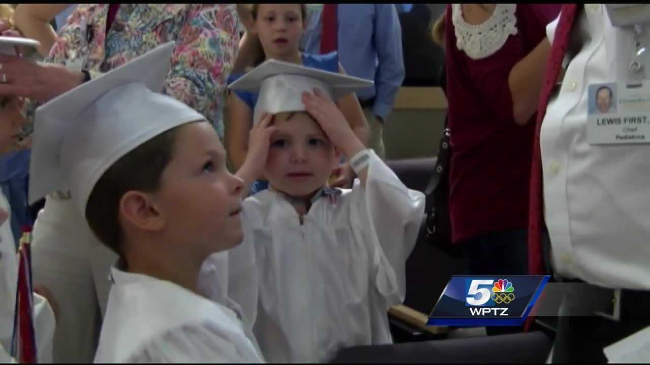 Keeseville Elementary school kindergarten class threw a special graduation ceremony for a classmate in the hospital.