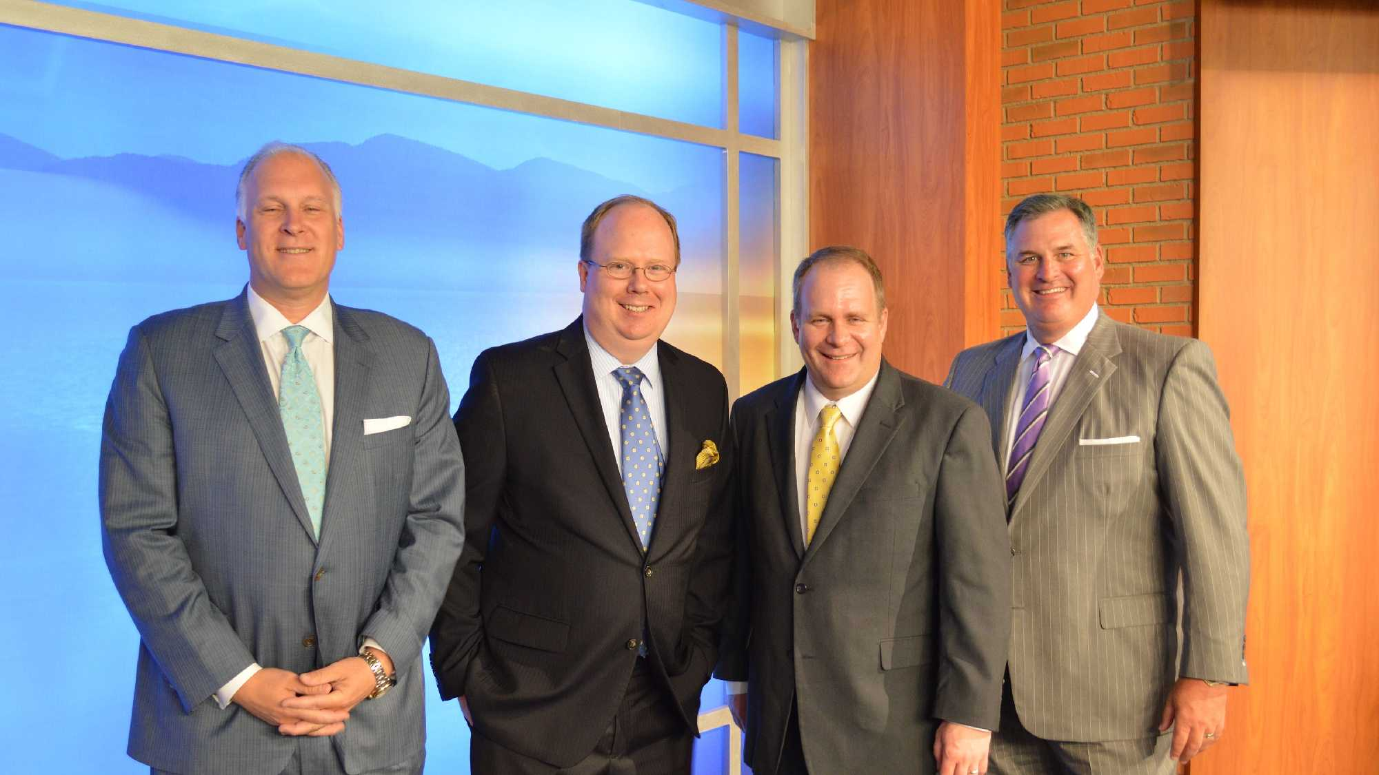 Hearst Television President JordanWertlieb, outgoing WPTZ-WNNE President Kyle Grimes, new WPTZ-WNNE PresidentJustin Antoniotti & Hearst Television Senior Vice President Mike Hayes.