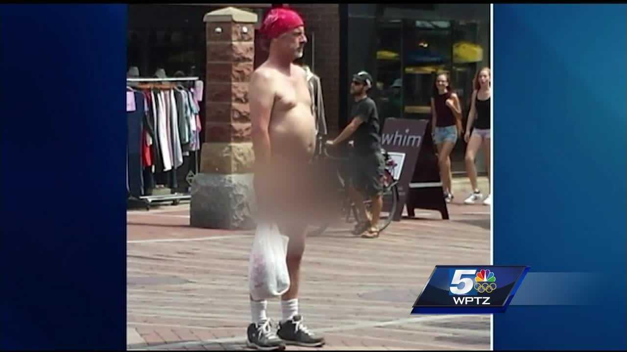 Naked man turning heads on Burlington's Church Street