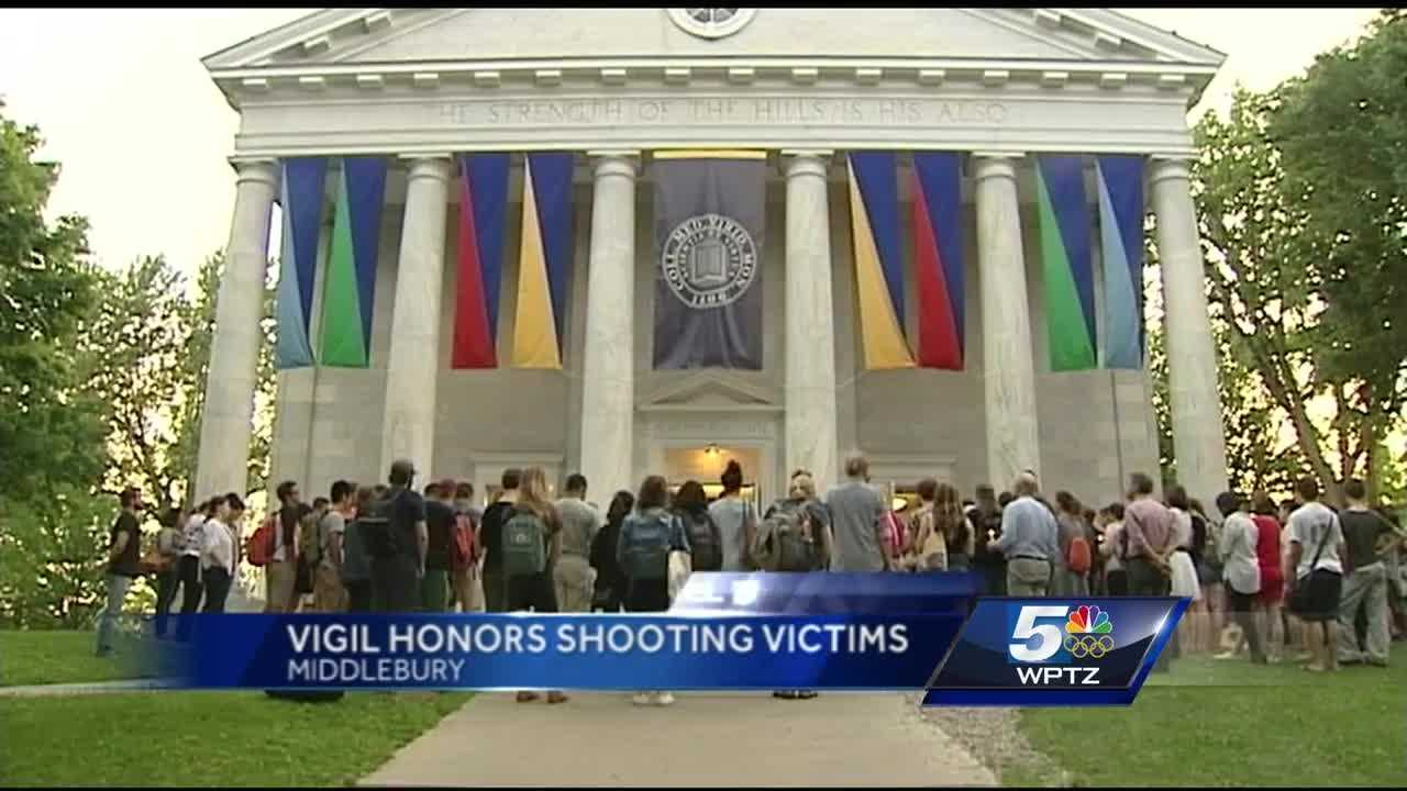 Middlebury College hosts a silent vigil to show strength, pray for peace after string of fatal shootings across America.