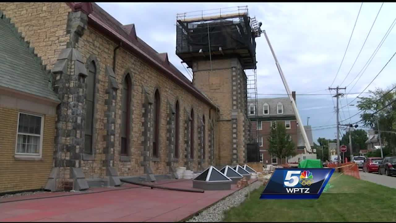College Street Congregational Church has been without a steeple for almost three years, and while the end to its absence is near, weather issues and shortage of materials are delaying its return.