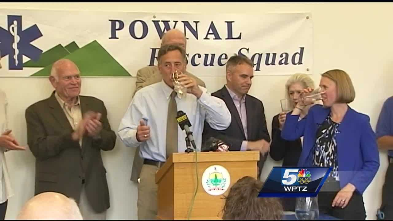 Pownal residents watched as Vermont Gov. Peter Shumlin declared their water safe to drink, then poured himself a glass.