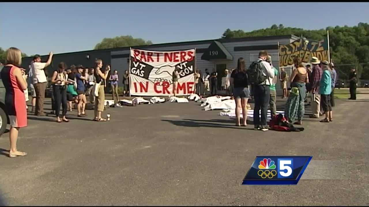Demonstrators laid down in protest Thursday morning outside the Vermont Public Service Board's hearing on eminent domain and construction of a gas pipeline.