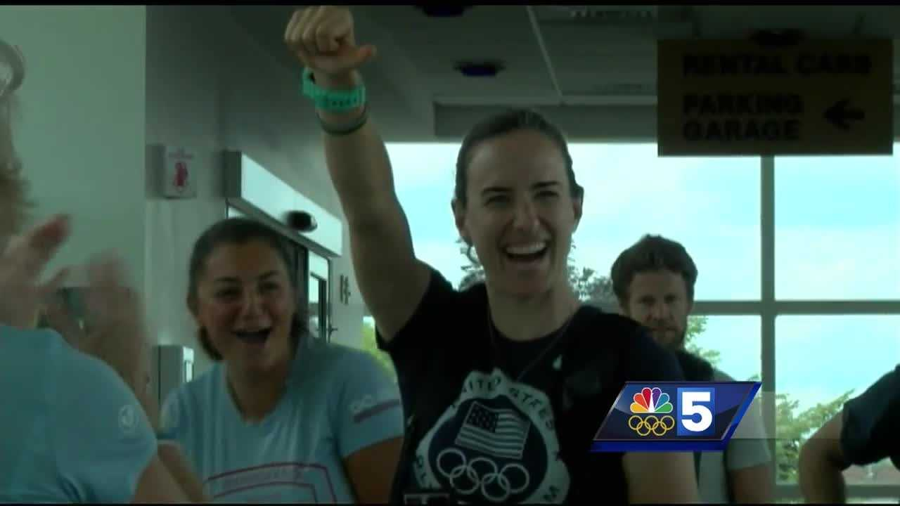 Olympic mountain biker Lea Davison got a warm send-off when she arrived at the airport.