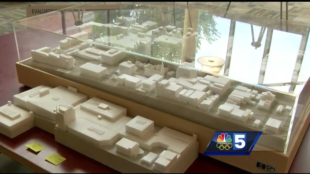 Councilors reviewed a set of documents outlining the proposed redevelopment plans. A model of what the mall would look like is on display at Burlington's Fletcher Free Library.