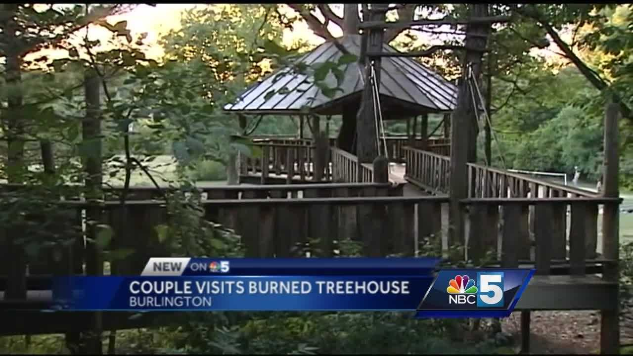 A couple got married at the Forever Young treehouse in Burlington, just weeks before it caught fire, causing damage to the floor and bench.