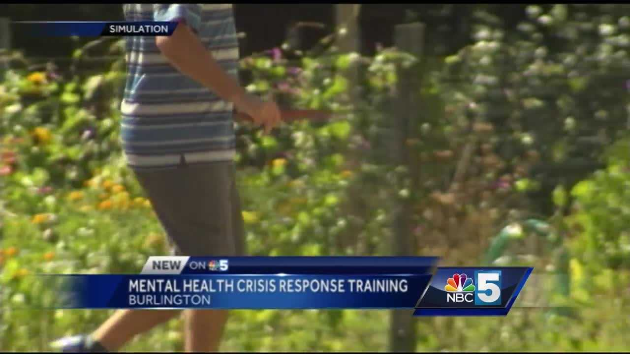 Police officers in Vermont's largest city trained Tuesday on how to de-escalate encounters with people experiencing a mental health crisis.
