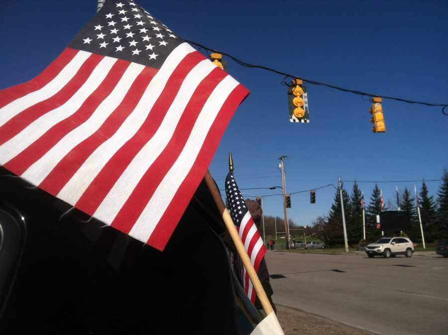 Flags wave along Williston Road.