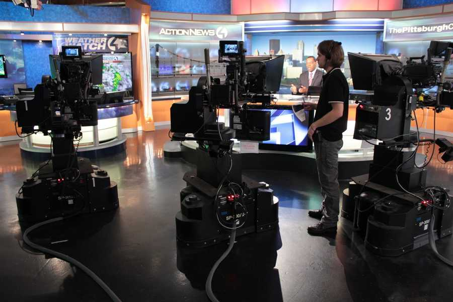 A look behind the cameras inside the Channel 4 Action News studio. The cameras are controlled electronically by one person.