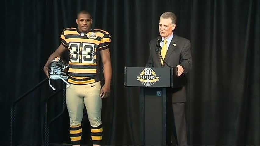 The Pittsburgh Steelers debuted a throwback uniform against the Washington Redskins in October 2012 at Heinz Field.