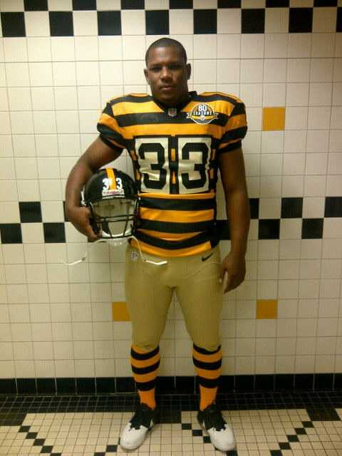 They wore the throwbacks again in a Sunday night game against the Baltimore Ravens in November.