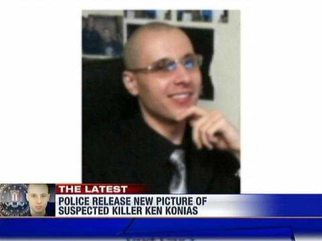 Later in the investigation, police showed a photo of Konias wearing glasses.