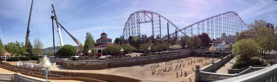 The Black Widow ride is being built near the Phantom's Revenge roller coaster.